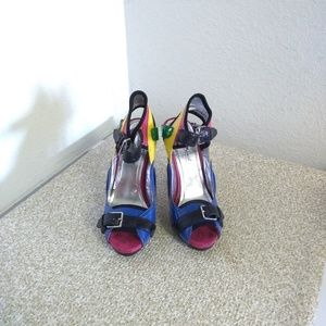 Anne Michelle Multicolored Leather Sandals